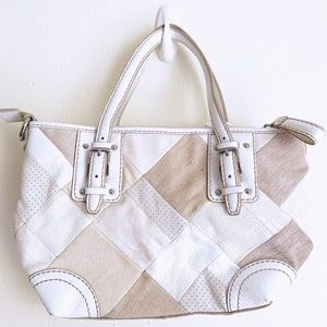 Fossil Square Pattern Genuine Leather Shoulder Bag